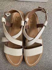 K Jacques Flatform Platform Cork Wedge Sandal Greek Suede Buckle Leather 41 BNIB