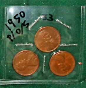 """THREE 1950 LINCOLN WHEAT-BACK PENNIES - FROM """"P"""", """"D"""" & """"S"""" MINTS"""
