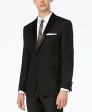 $975 CALVIN KLEIN Mens Slim Fit Wool Tuxedo Black 2 PIECE SUIT JACKET PANTS 46R
