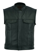 "MEN'S LEATHER WAISTCOAT MOTORCYCLE BLACK SONS OF ANARCHY ""CUT OFF"" BIKER VESTS"