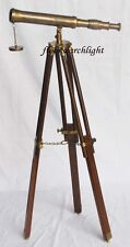 "NAUTICAL COLLECTIBLE ANTIQUE BRASS SINGLE BARREL 14"" TELESCOPE WITH TRIPOD STAND"