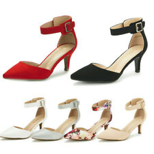 Women Dress Pump Shoes Ankle Strap Low Heel Pointed Toe Wedding Party Pumps