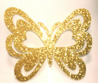 PAPILLON couleur OR glitter Patch thermocollant  hotfix gold 6.5 cm