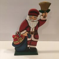 "Santa Claus Carved Wood Candle Holder Hand Painted 9.75"" Christmas Gift"