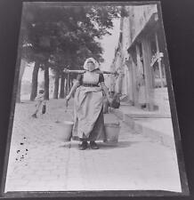 Dutch Lady with Yoke & Buckets - Antique Edwardian Glass Negative c1905