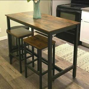 Industrial Bar Table & Stool Chairs Rustic Kitchen Counter Breakfast Dining Room