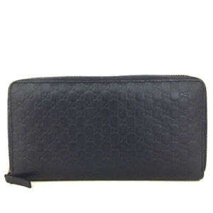 GUCCI Micro Shima GG Navy blue Leather Zippy Around Long Wallet /F1229