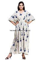 Hand Block Print Kaftan Long Dress Festival Beach Resort Wear One Size Fits