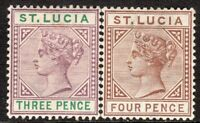 St Lucia 1891 mauve/green 3d brown 4d Die II crown CA perf 14 mint SG47/48