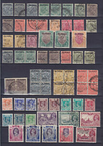 BURMA 1937-1940, 63 STAMPS INCLUDING HIGH VALUES