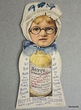 Trade Card Ad Bookmark Victorian Hoyts German Cologne Girl Pop Out 1890s Litho