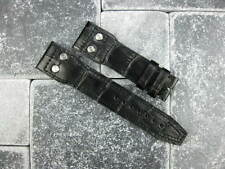 22mm Black Genuine Grain Leather Strap with Rivet Watch Band BIG PILOT 22 II