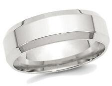 BORDE biselado para hombre 7mm plata esterlina Anillo de bodas