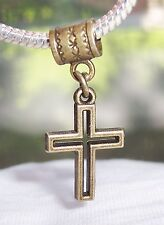 Open Cross Christian Bronze Tone Dangle Bead for European Style Charm Bracelets