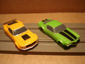 2 TOMY AFX HO SCALE BODIES ONLY CHEVROLET CAMARO RS350 LIME VS MUSTANG BOSS 429
