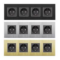Alu 4 Fach Steckdose Wandsteckdosen mit Aluminiumrahmen von LUXUS-TIME BT800