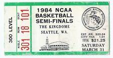 1984 NCAA basketball Final Four Semi Finals Ticket Kentucky Georgetown Houston