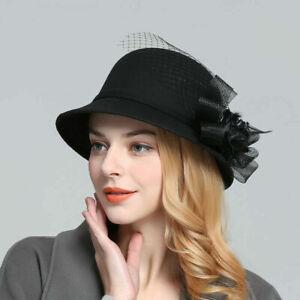 Women Gatsby 1920s Vintage Wool Bucket Hat Felt Beanie Crochet Church Floral Cap