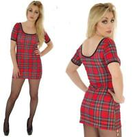 RED TARTAN LONGER LENGTH SHORT SLEEVED T SHIRT DRESS TOP GOTH ALTERNATIVE PUNK