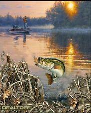 Realtree Bass Fish Fishing Fisher Lake Boat Fleece Fabric Panel A505.16