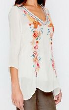 Johnny Was Sz L FAITH Cupra Rayon V~NECK EXQUISITE EMBROIDERY TUNIC TOP NWT