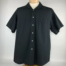 Yves Saint Laurent Button Down Shirt Mens Sz 17 32-33 Black Short Sleeve Pocket