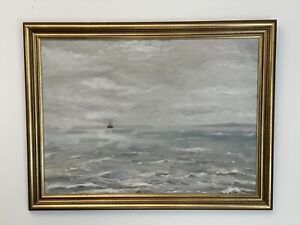 """Large vintage seascape / nautical painting, signed and framed, ocean, 21x29"""""""