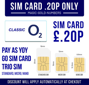 O2 Sim Card New and Sealed Only 20p Classic O2 Pay As You Go 02 O2
