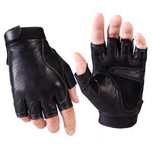 Spring Leather Driving Gloves For Men Black Fingerless Sheepskin Fitness Dance