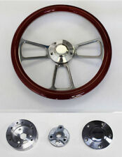 "1964-66 Chevy II 2 Nova Impala Mahogany Wood and Billet Steering Wheel 14"""