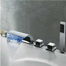 LED Changing Color Waterfall Bathroom Tub Faucet 5pcs Mixer Tap with Hand Shower