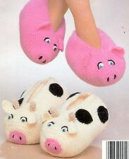 Adult Cow & Pig Slippers Crochet Pattern Great Gift !!