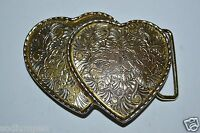 WOW Nice Vintage Dual Hearts Women's Cowgirl Rodeo Western Belt Buckle HTF USA