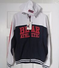 Rare! BNWT BEAR USA Zip Up ATHLETIC HOODIE JACKET TOP Blue White SIZE LARGE BOYS