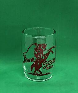 Lone Star Beer Glass / Barrel Tumbler / Roping Cowboy / Vintage Texas Bar Ads