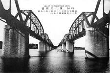 Old Photo.  Korea.  Hangang Railway Bridge Crossing