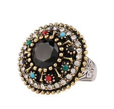 Luxury Men's Woman Gold plated Inlaid Black Stone Crystal Female Ring Size 10