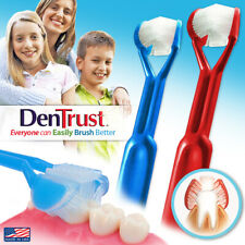 2-PK | DenTrust | The Only Child-Safe 3-Sided Toothbrush + Tongue Cleaner | USA