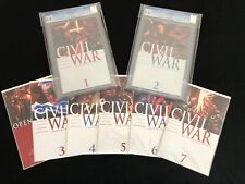 Marvel Civil War #1 CGC 9.8, #2 CGC 9.8 and #3,4,5,6,7 Raw - White Pages