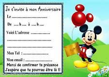 5 cartes invitation anniversaire Mickey  03