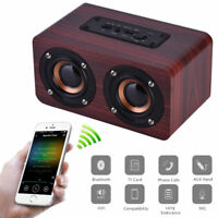 Wooden Bluetooth Wireless Speaker Super Bass 3D Surround Stereo Dual Loudspeaker