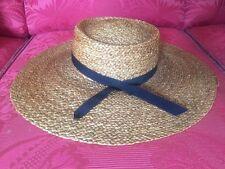Vintage Sombrero de Paja Ala Grande Natural Color Negro Excelente Cinta del Grosgrain