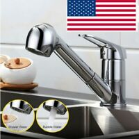 Pull-Out Spray Kitchen Faucet Swivel Spout Sink Single Handle Polished Chrome