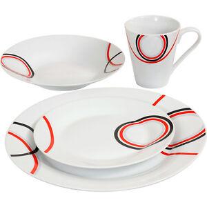 16PC DINNER SET BOWL PLATE MUG SOUP SIDE PORCELAIN CUP GIFT KITCHEN SERVICE NEW