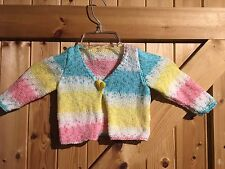 """Gorgeous Hand Made Baby Cardigan 22"""" (56cm) Rainbow Wool Heart Button"""