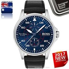 Hugo Boss Mens Aviator Watch Silver Steel Blue Dial Black Leather 1513515