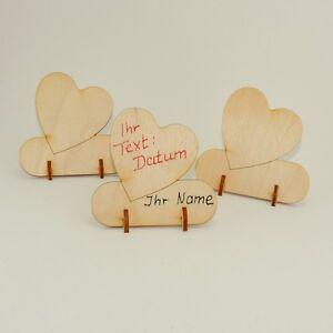 6er Set Tischkarte Platzkarte symetrisches Herz Hochzeit Gastgeschenk Holz