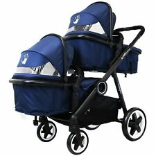 iSAFE Baby Boys Blue Lightweight Double Twin Tandem Pram Stroller Buggy