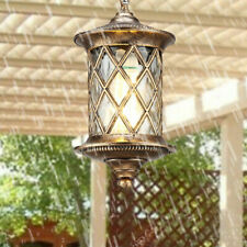 Country Style Water Glass Cylinder Lantern Outdoor Pendant Lights in Black/Brass
