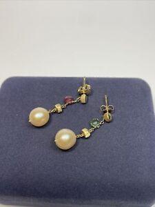 Marco Bicego 18k Yellow Gold Pearl & Gemstone Dangle Earrings